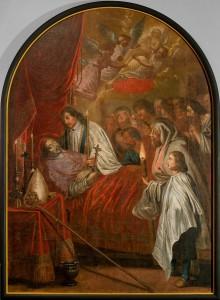 """Gemälde: Tod des Hl. Luidger (z. Zt. in der Ausstellung """" Credo"""" in Paderborn) aus dem Vorgängerbau der Kirche, Endzustand"""