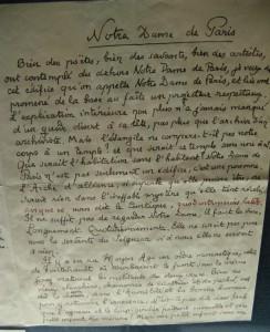 eine Seite des Manuskriptes von Paul Claudels Vorwort zum Werk von Pierre-Marie Auzas