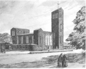 Christus-König-Kirche, gemalt von Jupp Brüx, Kupfertiefdruck