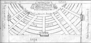 Zeichnung der Abgeordnetenplätze im Reichstag von Karl Leisner